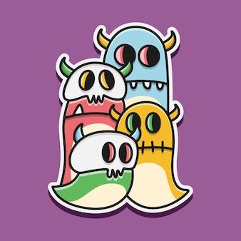 Ilustración de doodle de monstruo de dibujos animados kawaii