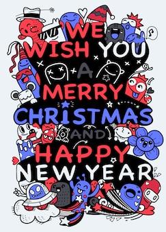 Ilustración de doodle navidad, dibujo a mano doodle