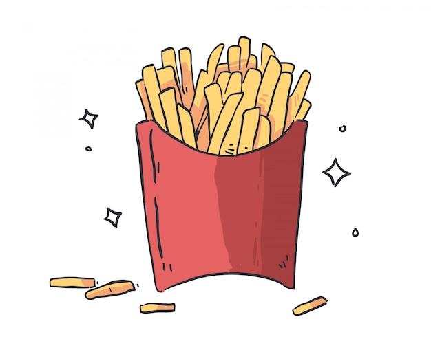 Ilustración de doodle de papas fritas