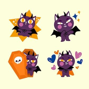 Ilustración de doodle de personaje de adorable gato drácula pequeño animado