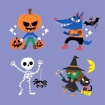 Ilustración de doodle de personaje de halloween espeluznante pero lindo