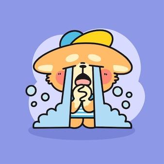 Ilustración de doodle de personaje llorando pequeño corgi triste