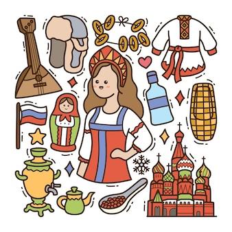 Ilustración de doodle de rusia