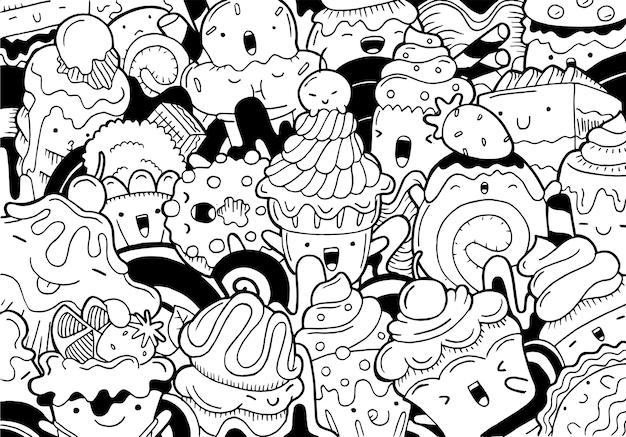 Ilustración de doodle sweet dessert en estilo de dibujos animados