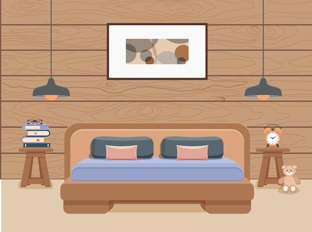 Ilustración de dormitorio con cama, lámparas e imagen.