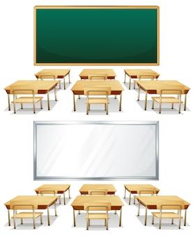Ilustración de dos aulas con tableros