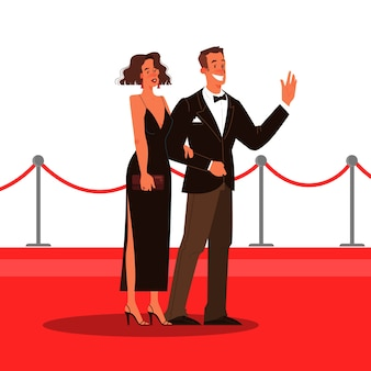 Ilustración de dos celebridades en la alfombra roja