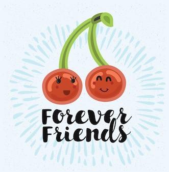 Ilustración de dos cerezas se aman. mejores amigos para siempre. cita de letras a mano