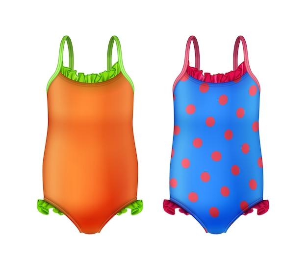 Ilustración de dos coloridos trajes de baño de una pieza para niñas.