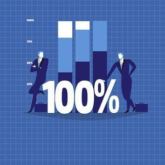 Ilustración de dos empresarios junto al diagrama de crecimiento