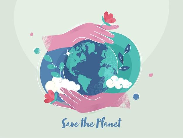 Ilustración de dos manos protegiendo el globo terráqueo con efecto de ruido sobre fondo verde claro para salvar el concepto del planeta.
