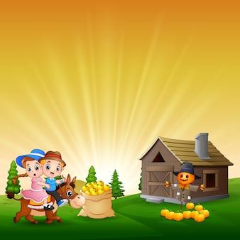 Ilustración de los dos niños jugando en la granja.