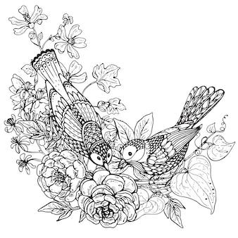 Ilustración de dos pájaros gráficos dibujados a mano y ramo de flores de peonía y otras plantas