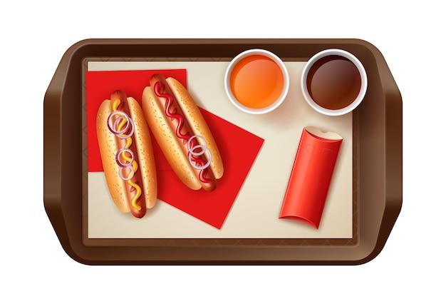 Ilustración de dos perros calientes con bebidas y empanada asada en caja roja