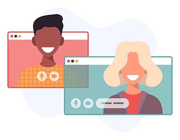 Ilustración de dos personas felices hablando por videollamada