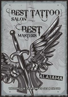 Ilustración de dos pistolas, cuchillo y alas.