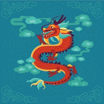 Ilustración de dragón chino rojo.
