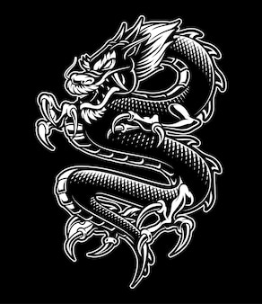 Ilustración de dragón japonés. monocromo, sobre fondo oscuro.