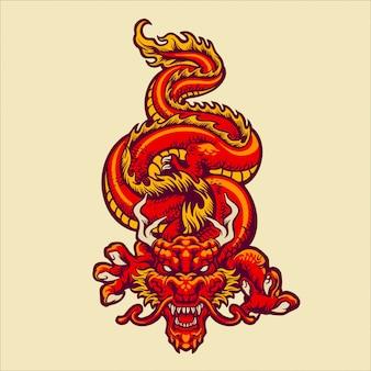 Ilustración del dragón oriental rojo