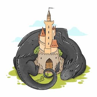 Ilustración de un dragón que yace cerca del castillo.