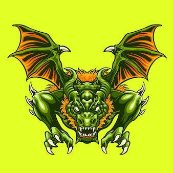 Ilustración de dragón verde