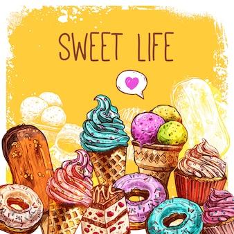 Ilustración dulce del bosquejo