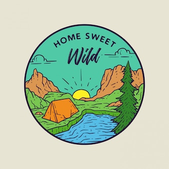 Ilustración dulce hogar monoline salvaje
