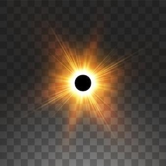Ilustración del eclipse solar total sobre fondo transparente. eclipse de sol de sombra de luna llena