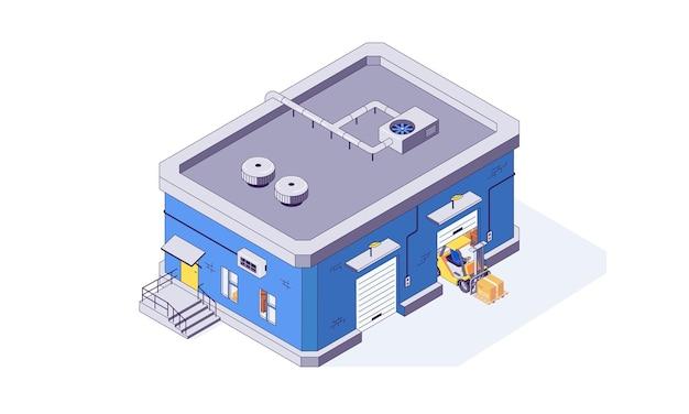Ilustración de edificio de almacén de almacenamiento de almacén isométrico
