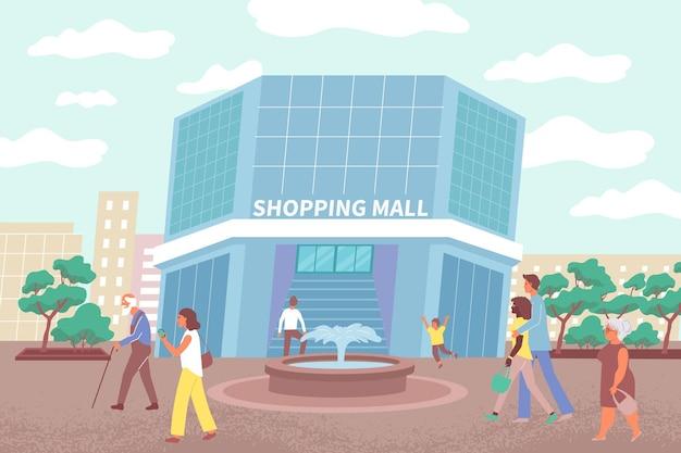 Ilustración del edificio del centro comercial y los ciudadanos que van a realizar compras en el centro comercial de la ciudad.