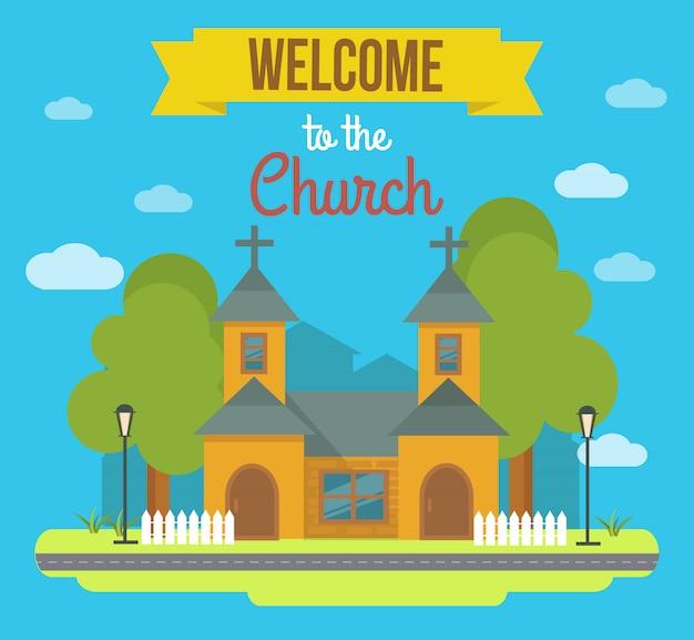 Ilustración de edificio de color plano con paisaje y titular de bienvenida a la iglesia