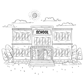 Ilustración del edificio escolar con estilo dibujado a mano o incompleto en blanco