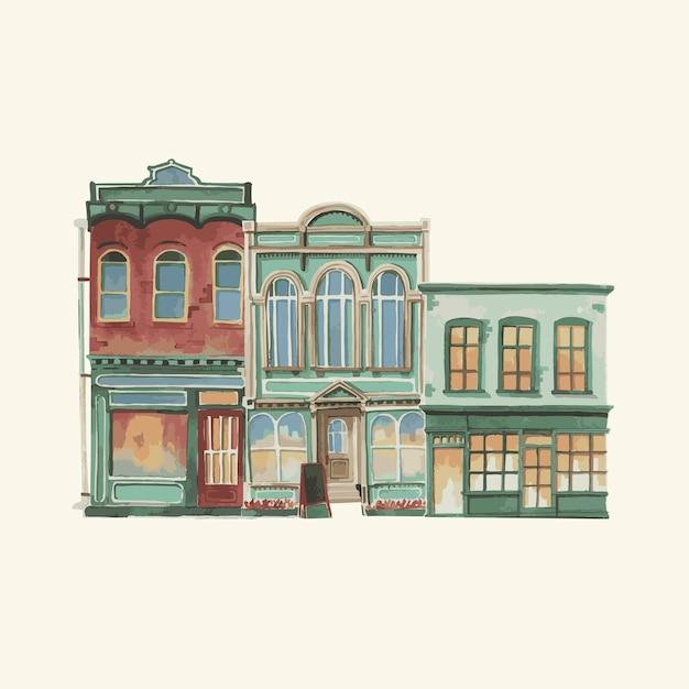 Ilustración de un edificio exterior europeo vintage en color de agua