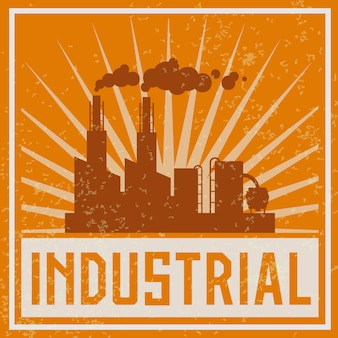 Ilustración de edificio industrial de construcción