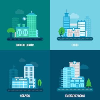 Ilustración de edificio médico plana