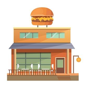 Ilustración de edificio de restaurante comercial - burger house.