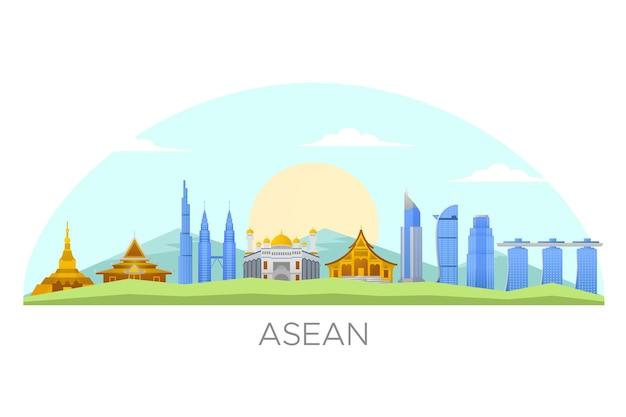 Ilustración de edificios de la asean