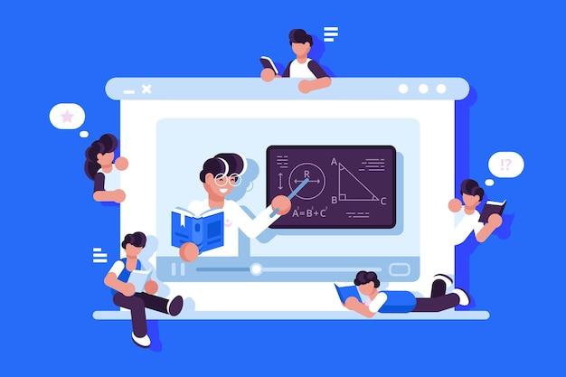Ilustración de educación y graduación en línea.
