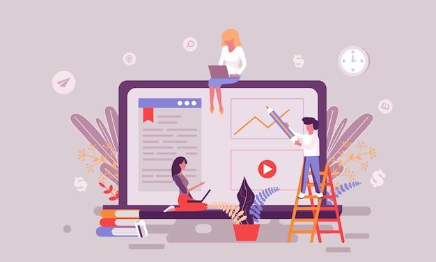 Ilustración de educación en internet