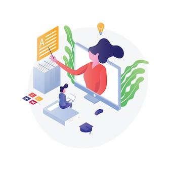 Ilustración de educación isométrica plana