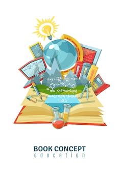Ilustración de educación de libro abierto