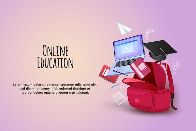 Ilustración de educación en línea con bolsas, libros de computadora y lápices