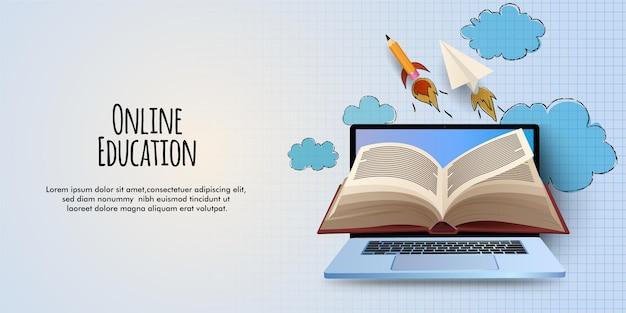 Ilustración de educación en línea con computadora portátil y libros