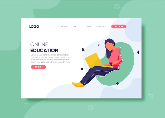 Ilustración de educación en línea para plantilla de página de destino