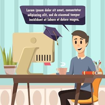 Ilustración de educación en línea
