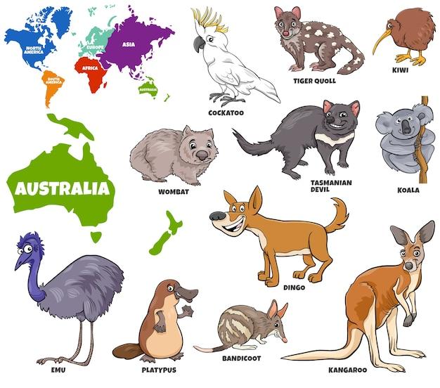 Ilustración educativa de animales australianos establecidos.