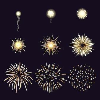 Ilustración del efecto de fuegos artificiales en estilo cómic de dibujos animados.