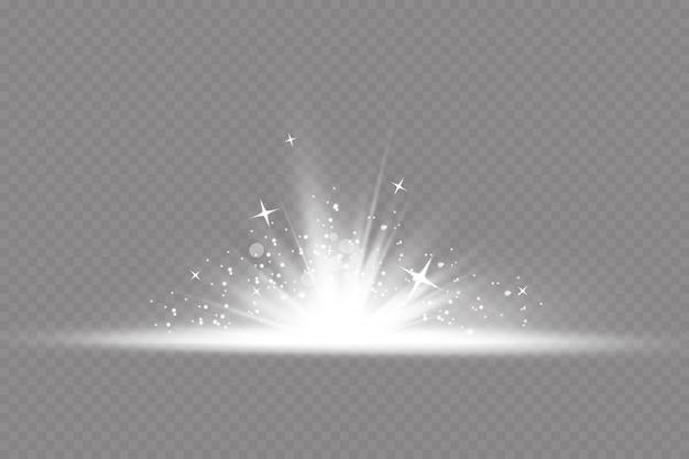 Ilustración de efecto de luz de resplandor. polvo repentino parpadeo de partículas de polvo