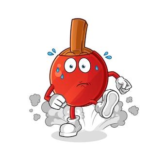 Ilustración de ejecución de bate de tenis de mesa. vector de personaje