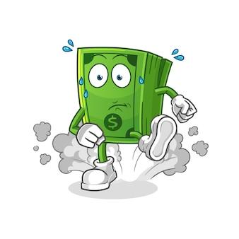 Ilustración de ejecución de dinero. personaje